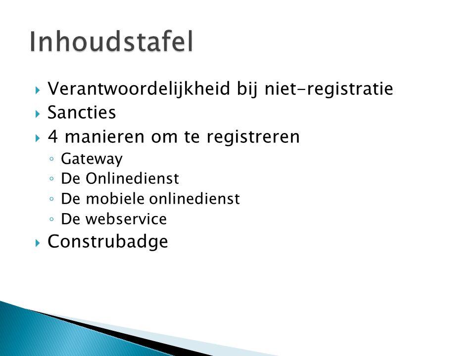 Verantwoordelijkheid bij niet-registratie  Sancties  4 manieren om te registreren ◦ Gateway ◦ De Onlinedienst ◦ De mobiele onlinedienst ◦ De webse