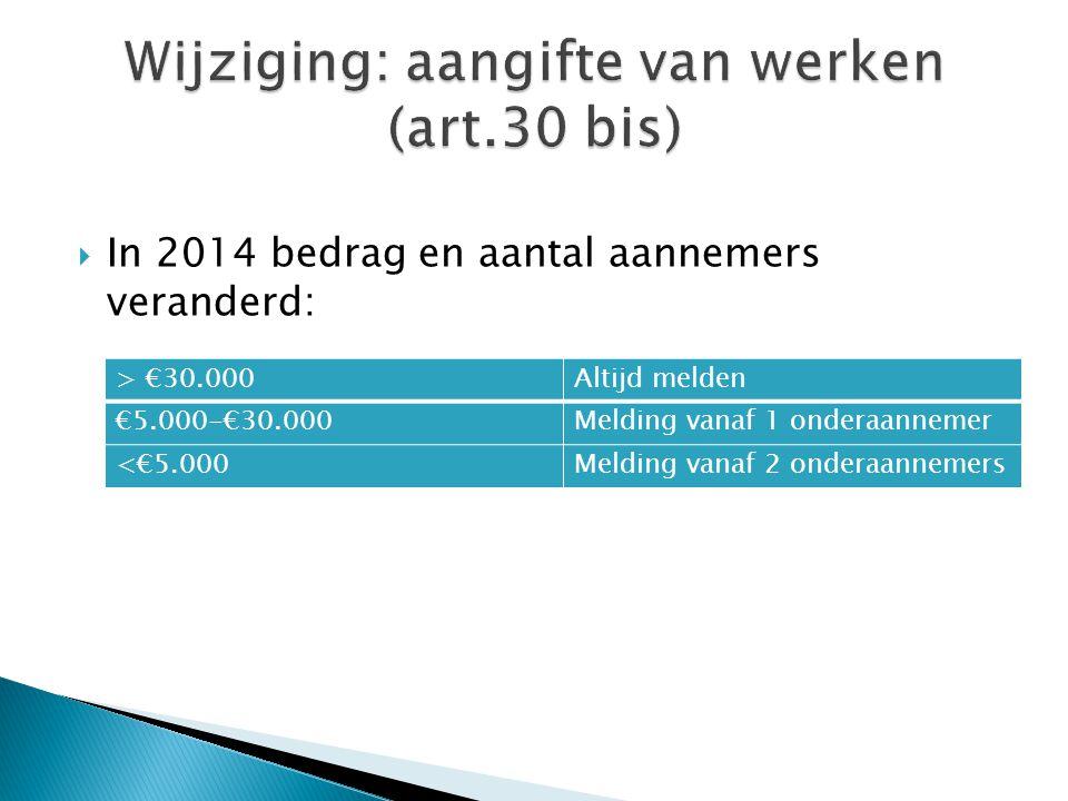  In 2014 bedrag en aantal aannemers veranderd: > €30.000Altijd melden €5.000-€30.000Melding vanaf 1 onderaannemer <€5.000Melding vanaf 2 onderaanneme