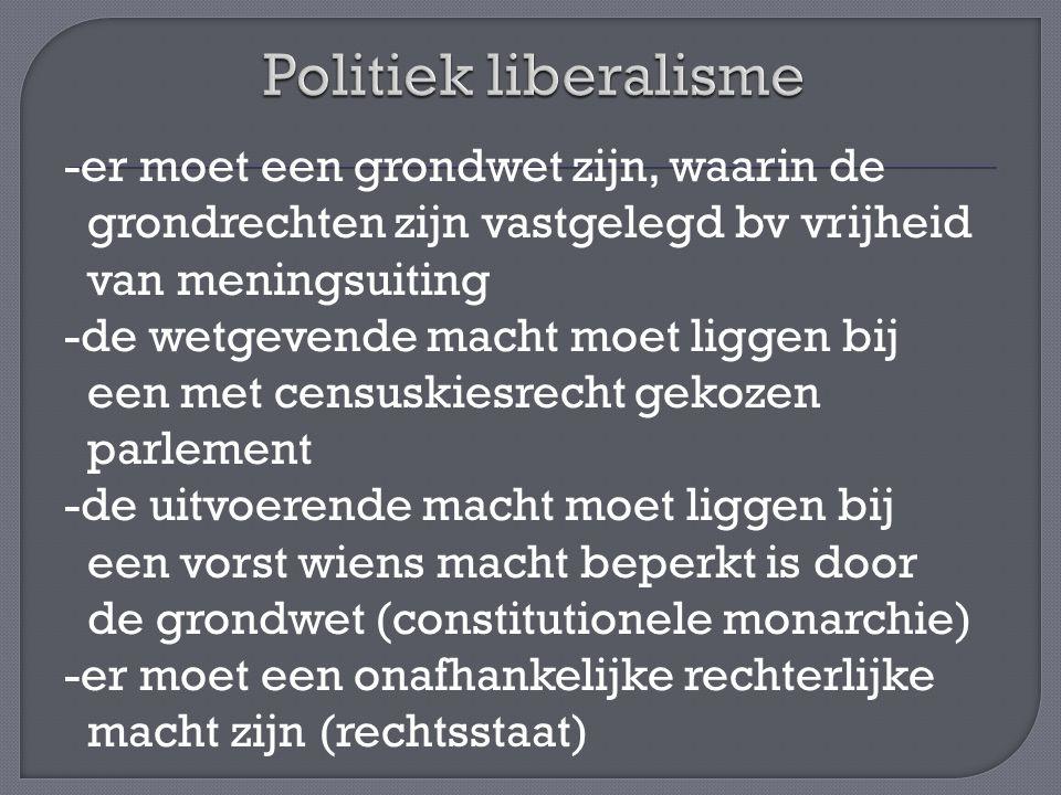 -er moet een grondwet zijn, waarin de grondrechten zijn vastgelegd bv vrijheid van meningsuiting -de wetgevende macht moet liggen bij een met censuski