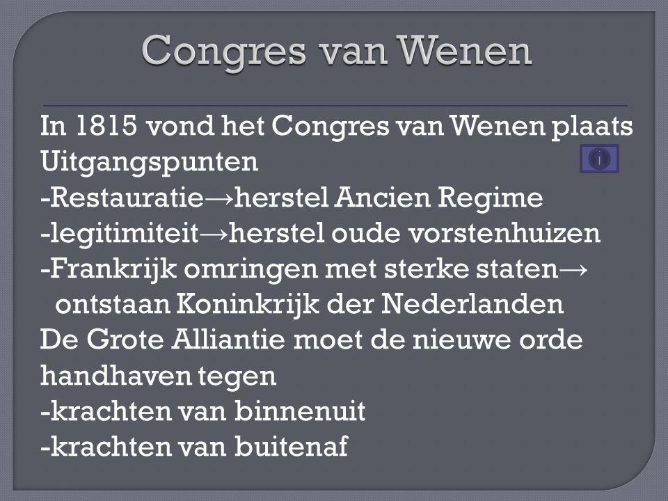 In 1815 vond het Congres van Wenen plaats Uitgangspunten -Restauratie → herstel Ancien Regime -legitimiteit → herstel oude vorstenhuizen -Frankrijk om