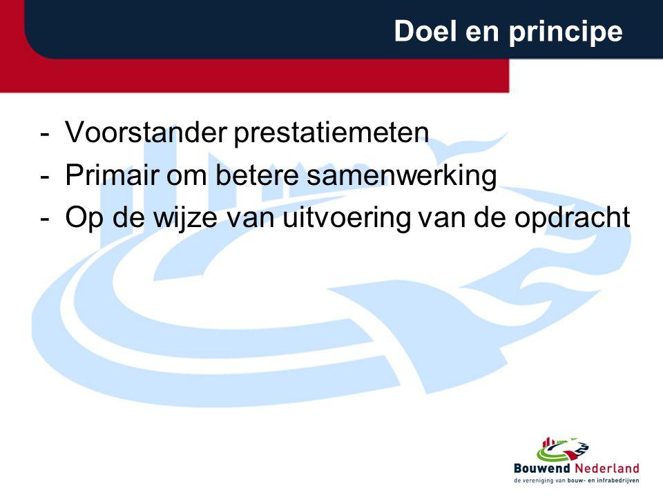 Doel en principe -Voorstander prestatiemeten -Primair om betere samenwerking -Op de wijze van uitvoering van de opdracht