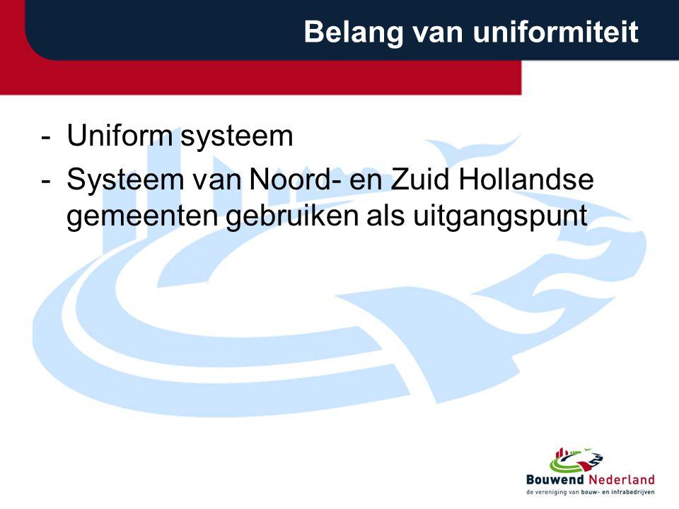 Belang van uniformiteit -Uniform systeem -Systeem van Noord- en Zuid Hollandse gemeenten gebruiken als uitgangspunt