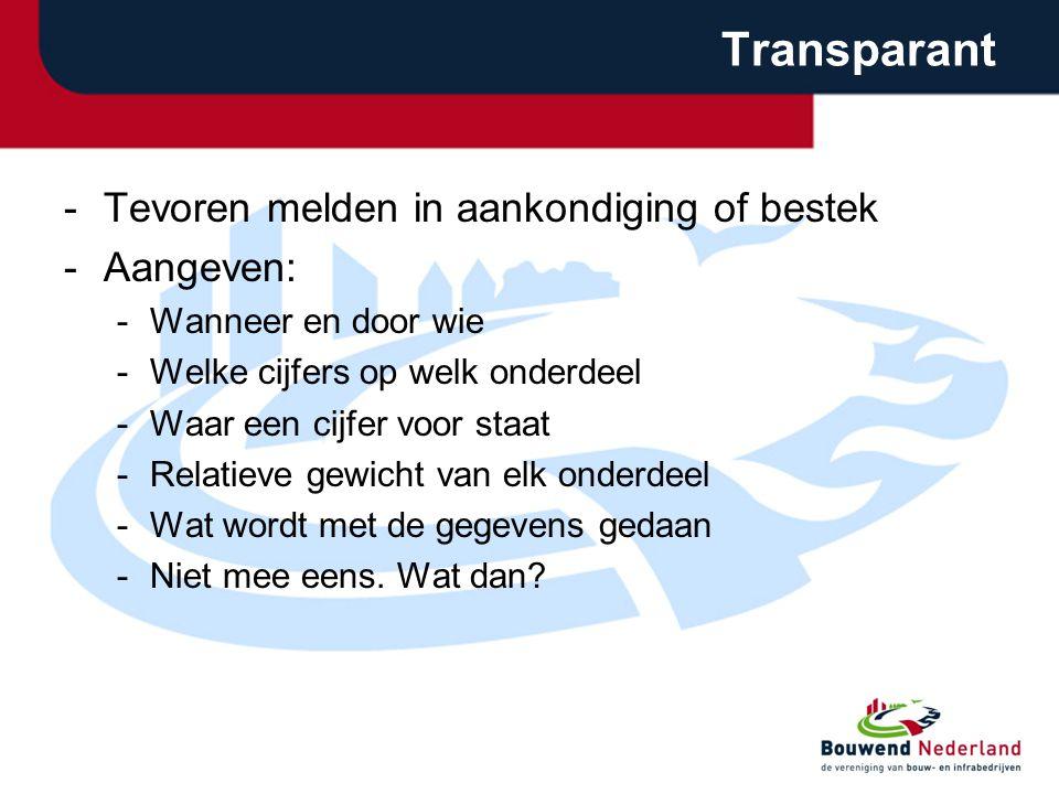 Transparant -Tevoren melden in aankondiging of bestek -Aangeven: -Wanneer en door wie -Welke cijfers op welk onderdeel -Waar een cijfer voor staat -Re
