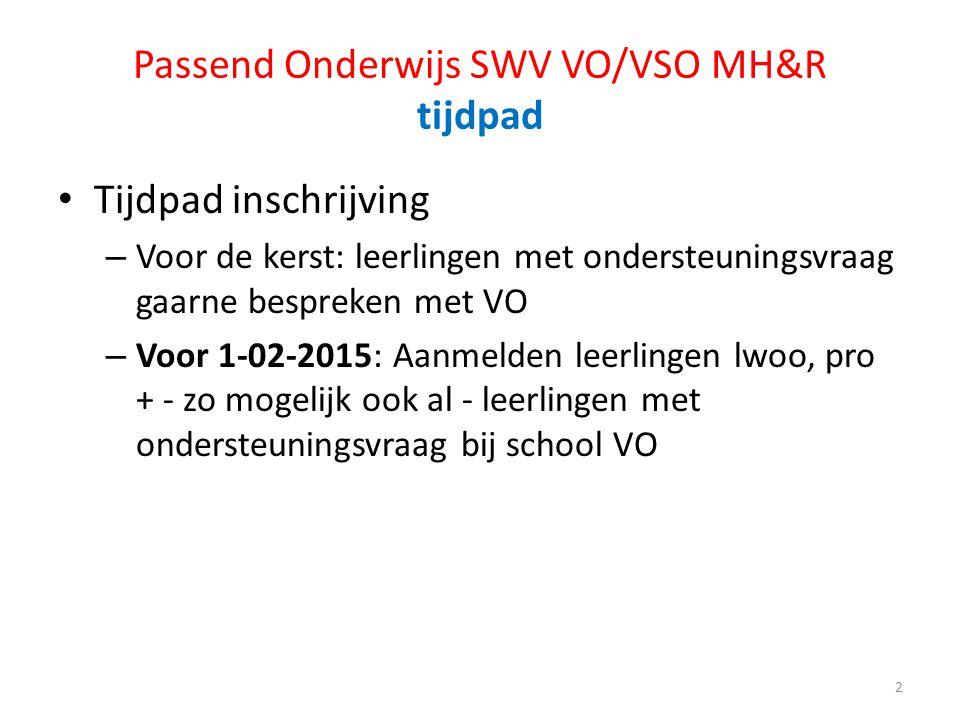 Passend Onderwijs SWV VO/VSO MH&R tijdpad Tijdpad inschrijving – Voor de kerst: leerlingen met ondersteuningsvraag gaarne bespreken met VO – Voor 1-02