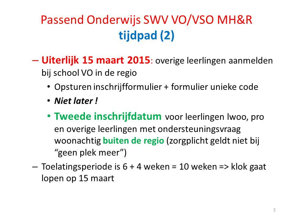 Passend Onderwijs SWV VO/VSO MH&R tijdpad (2) – Uiterlijk 15 maart 2015 : overige leerlingen aanmelden bij school VO in de regio Opsturen inschrijffor