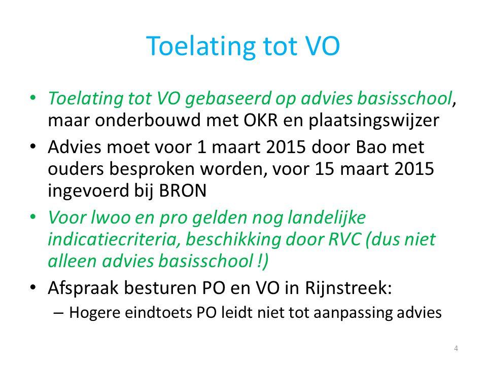 Toelating tot VO Toelating tot VO gebaseerd op advies basisschool, maar onderbouwd met OKR en plaatsingswijzer Advies moet voor 1 maart 2015 door Bao