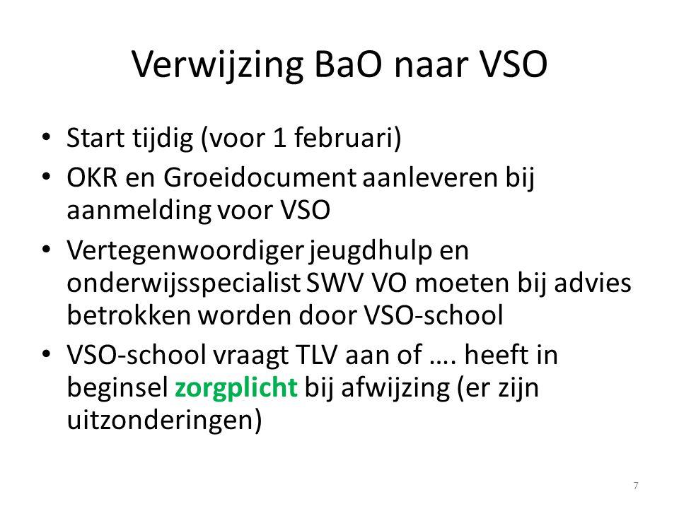 Verwijzing BaO naar VSO Start tijdig (voor 1 februari) OKR en Groeidocument aanleveren bij aanmelding voor VSO Vertegenwoordiger jeugdhulp en onderwij