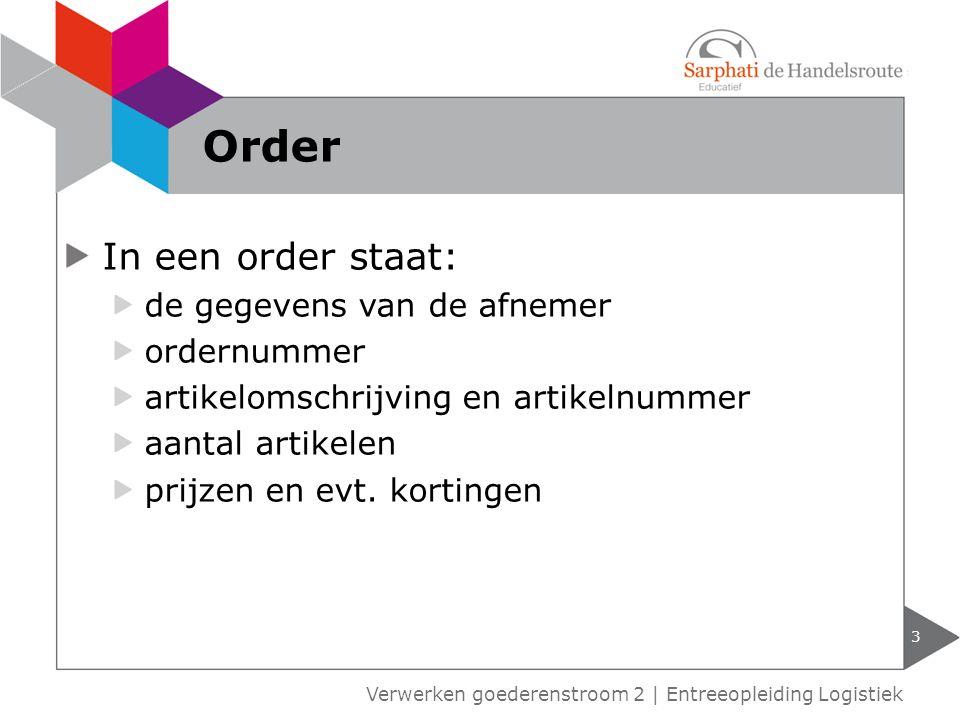 3 Verwerken goederenstroom 2 | Entreeopleiding Logistiek Order In een order staat: de gegevens van de afnemer ordernummer artikelomschrijving en artik