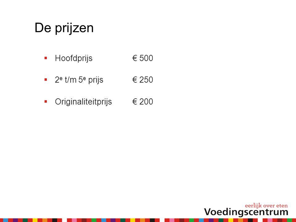 De prijzen  Hoofdprijs € 500  2 e t/m 5 e prijs € 250  Originaliteitprijs € 200