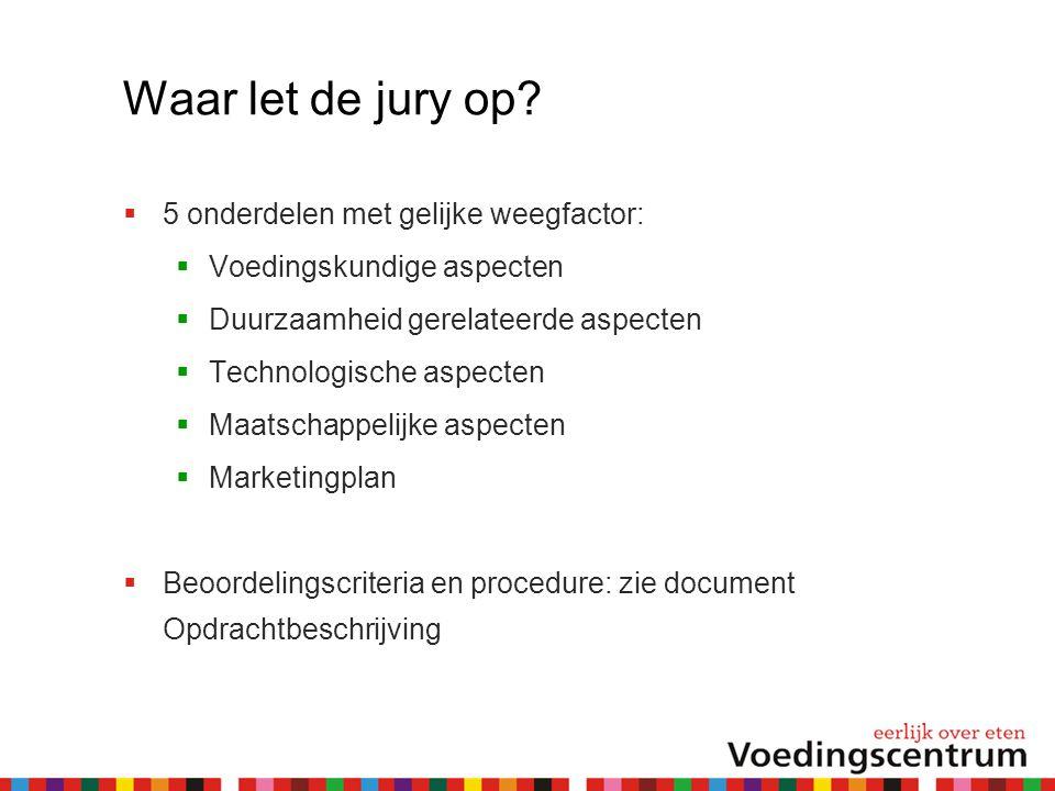 Waar let de jury op?  5 onderdelen met gelijke weegfactor:  Voedingskundige aspecten  Duurzaamheid gerelateerde aspecten  Technologische aspecten