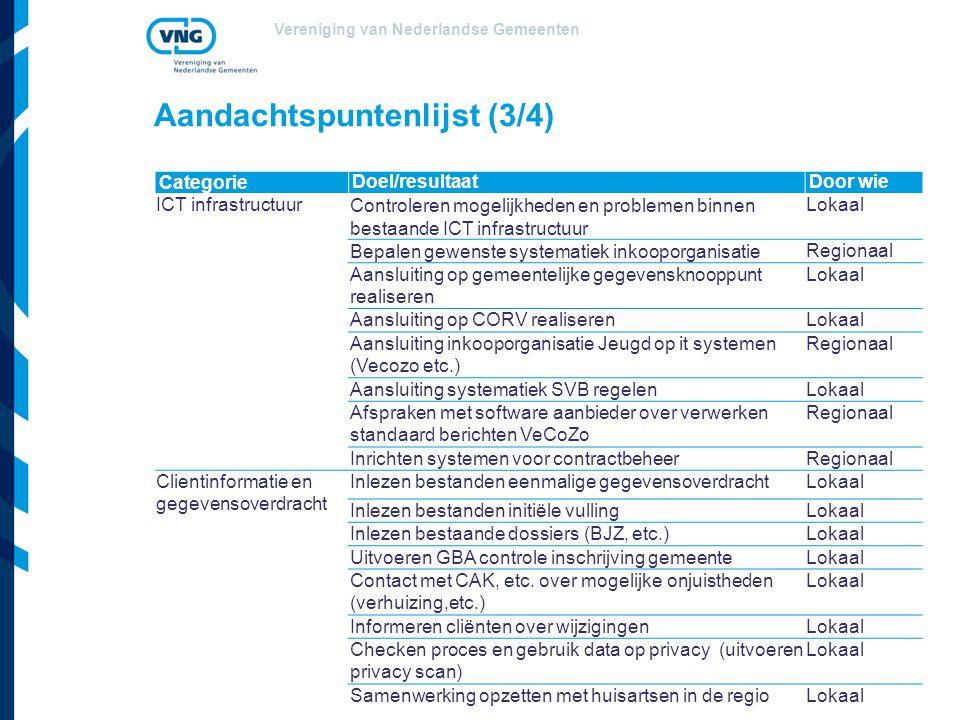 Vereniging van Nederlandse Gemeenten Aandachtspuntenlijst (3/4) CategorieDoel/resultaatDoor wie ICT infrastructuur Controleren mogelijkheden en proble