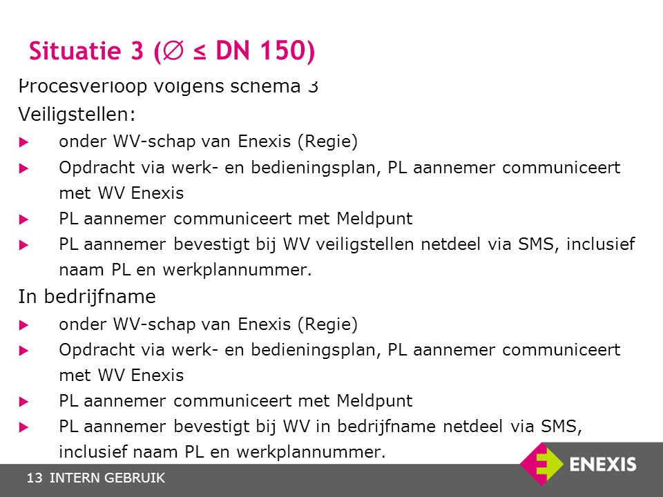 INTERN GEBRUIK13 Procesverloop volgens schema 3 Veiligstellen:  onder WV-schap van Enexis (Regie)  Opdracht via werk- en bedieningsplan, PL aannemer