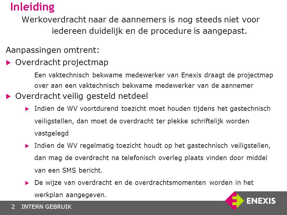 INTERN GEBRUIK3 Contractvormen Inhuur/Inleen Medewerker beschouwen als eigen personeel, volledig onder verantwoording van Enexis.