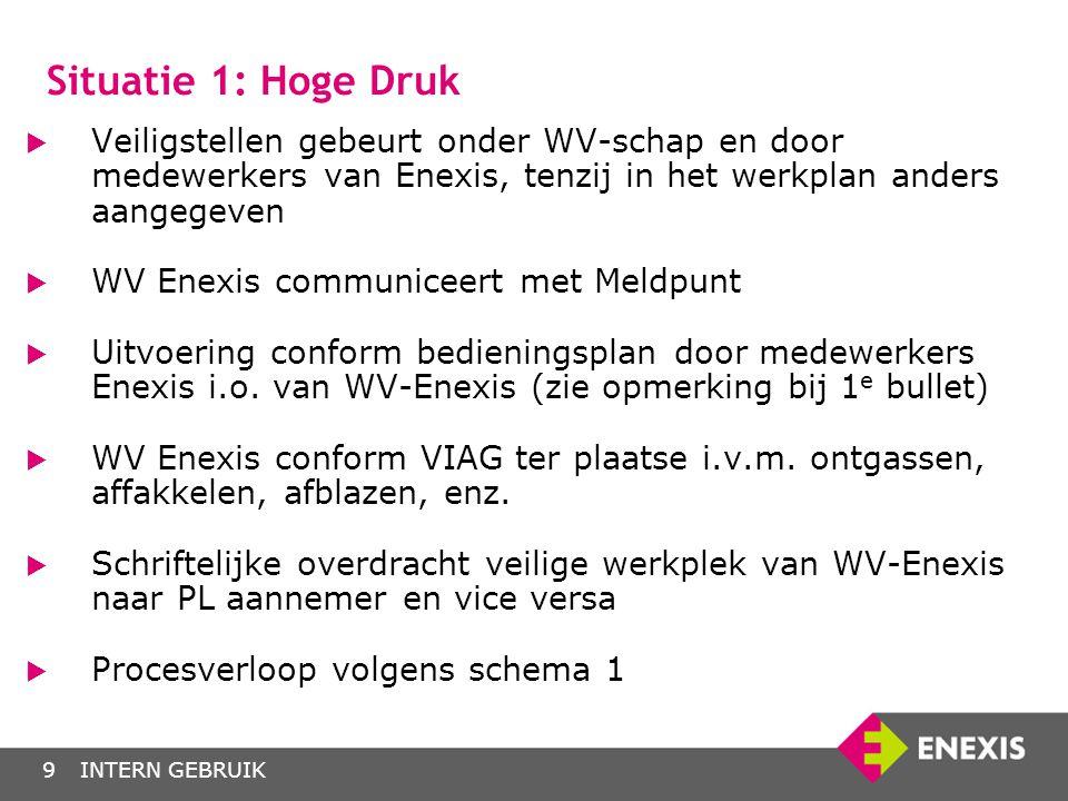 INTERN GEBRUIK9  Veiligstellen gebeurt onder WV-schap en door medewerkers van Enexis, tenzij in het werkplan anders aangegeven  WV Enexis communicee