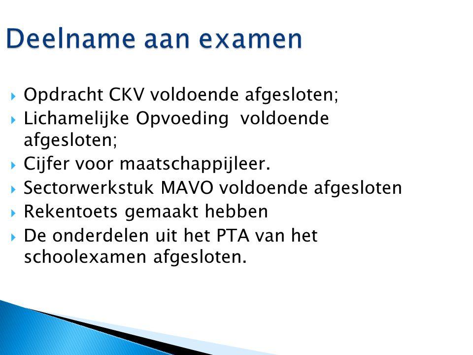 Deelname aan examen  Opdracht CKV voldoende afgesloten;  Lichamelijke Opvoeding voldoende afgesloten;  Cijfer voor maatschappijleer.  Sectorwerkst