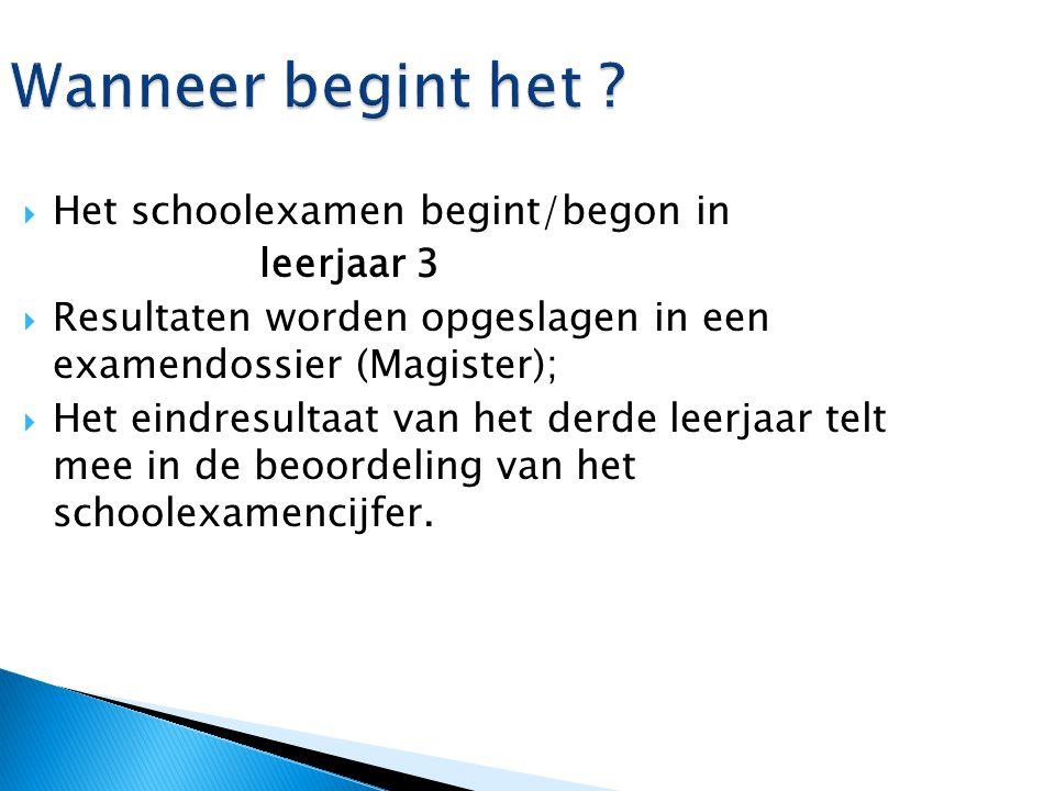 Wanneer begint het ?  Het schoolexamen begint/begon in leerjaar 3  Resultaten worden opgeslagen in een examendossier (Magister);  Het eindresultaat
