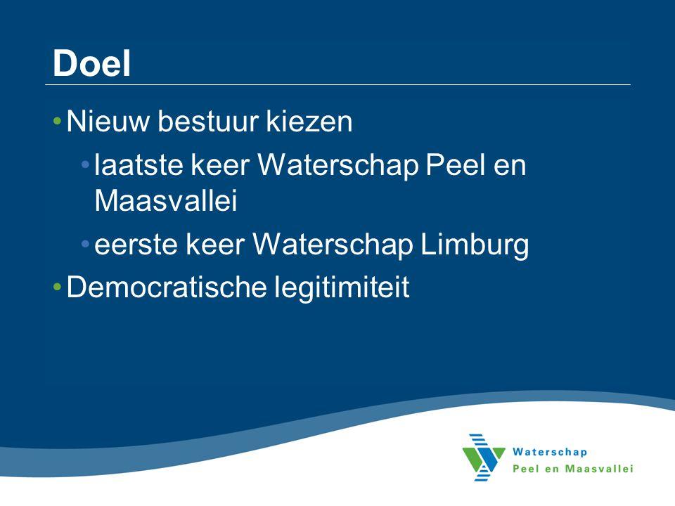 Doel Nieuw bestuur kiezen laatste keer Waterschap Peel en Maasvallei eerste keer Waterschap Limburg Democratische legitimiteit