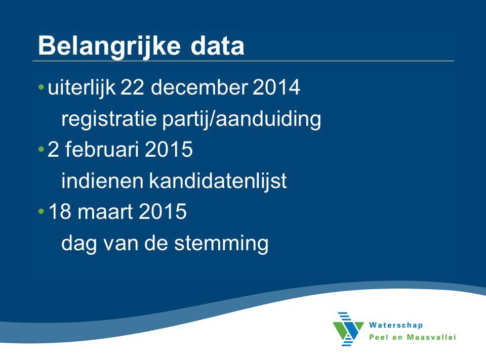 Belangrijke data uiterlijk 22 december 2014 registratie partij/aanduiding 2 februari 2015 indienen kandidatenlijst 18 maart 2015 dag van de stemming