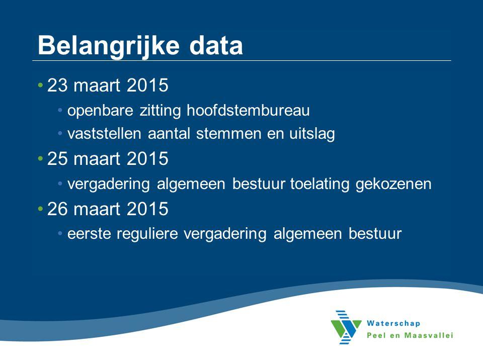Belangrijke data 23 maart 2015 openbare zitting hoofdstembureau vaststellen aantal stemmen en uitslag 25 maart 2015 vergadering algemeen bestuur toela
