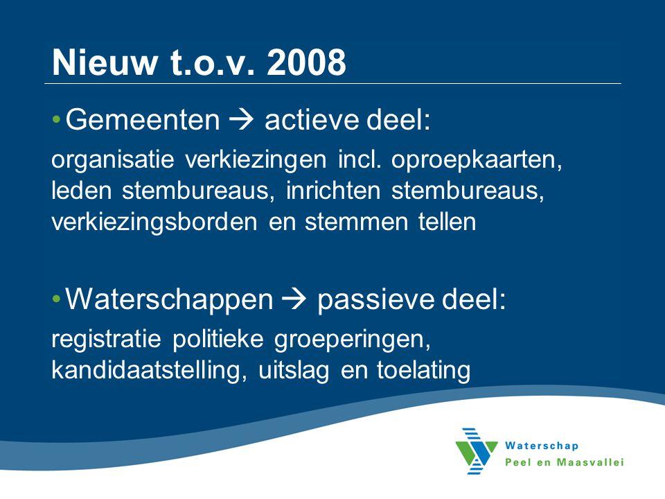 Nieuw t.o.v. 2008 Gemeenten  actieve deel: organisatie verkiezingen incl. oproepkaarten, leden stembureaus, inrichten stembureaus, verkiezingsborden