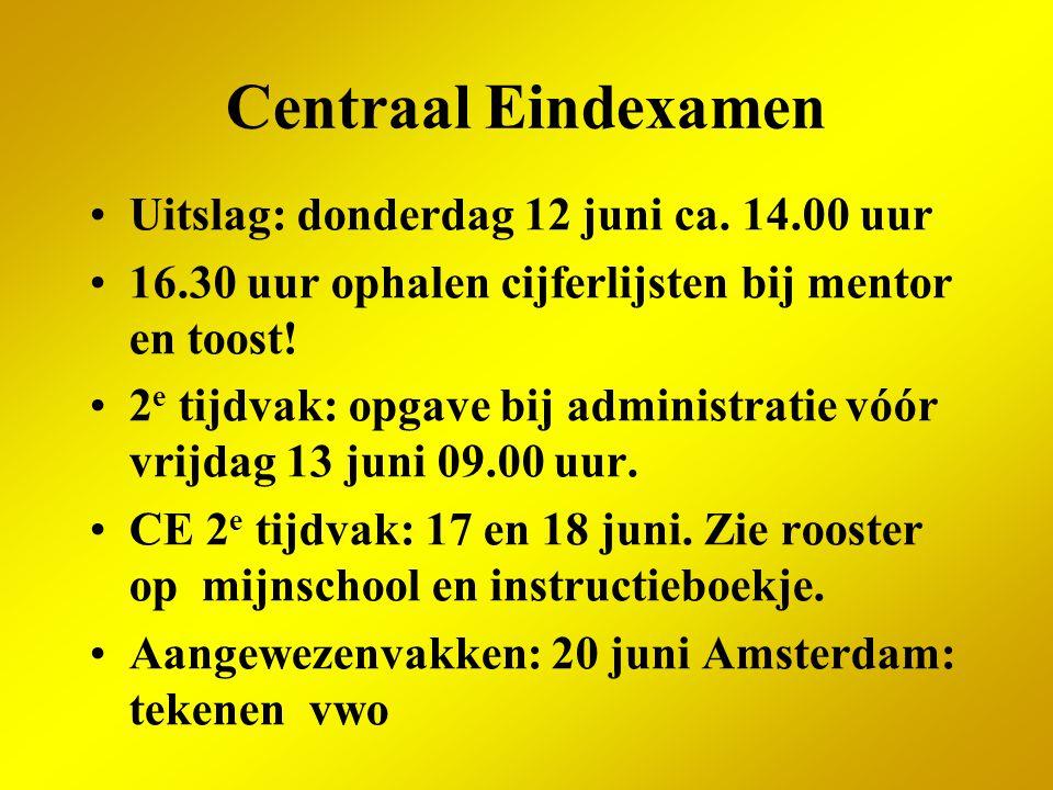 Centraal Eindexamen Uitslag: donderdag 12 juni ca. 14.00 uur 16.30 uur ophalen cijferlijsten bij mentor en toost! 2 e tijdvak: opgave bij administrati