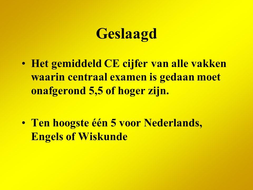 Geslaagd Het gemiddeld CE cijfer van alle vakken waarin centraal examen is gedaan moet onafgerond 5,5 of hoger zijn. Ten hoogste één 5 voor Nederlands