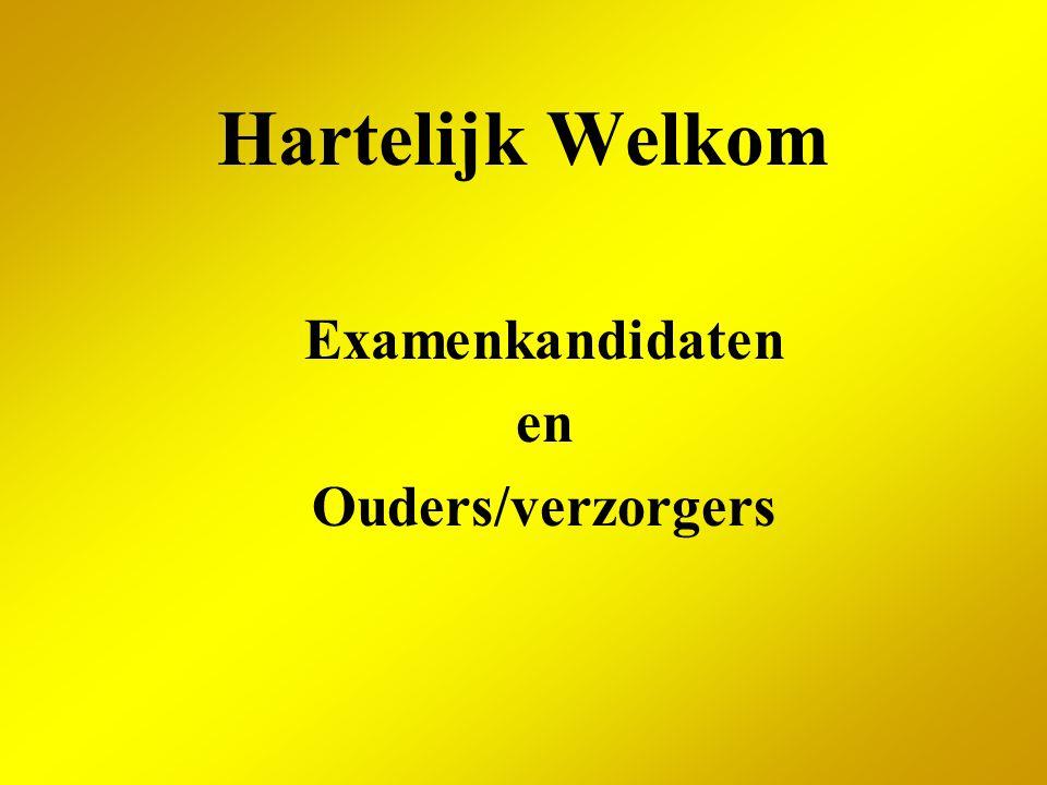Hartelijk Welkom Examenkandidaten en Ouders/verzorgers