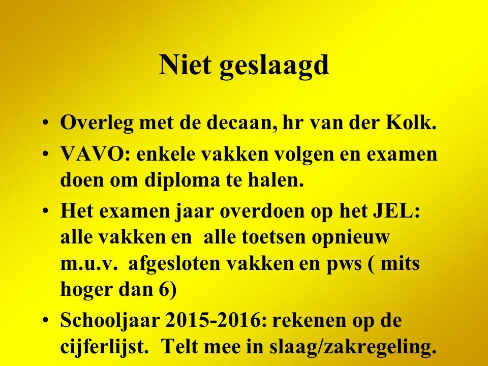 Niet geslaagd Overleg met de decaan, hr van der Kolk. VAVO: enkele vakken volgen en examen doen om diploma te halen. Het examen jaar overdoen op het J