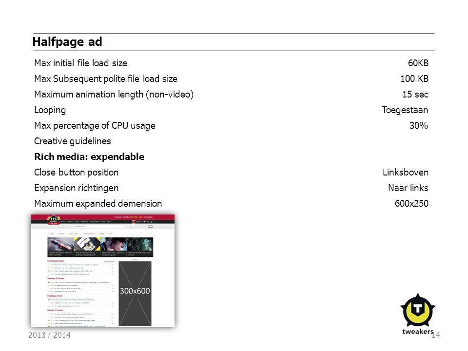 2013 / 201414 Halfpage ad