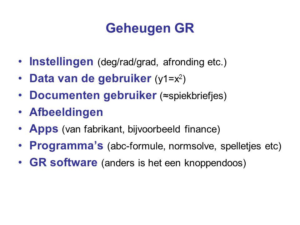 Geheugen GR Instellingen (deg/rad/grad, afronding etc.) Data van de gebruiker (y1=x 2 ) Documenten gebruiker (≈spiekbriefjes) Afbeeldingen Apps (van f
