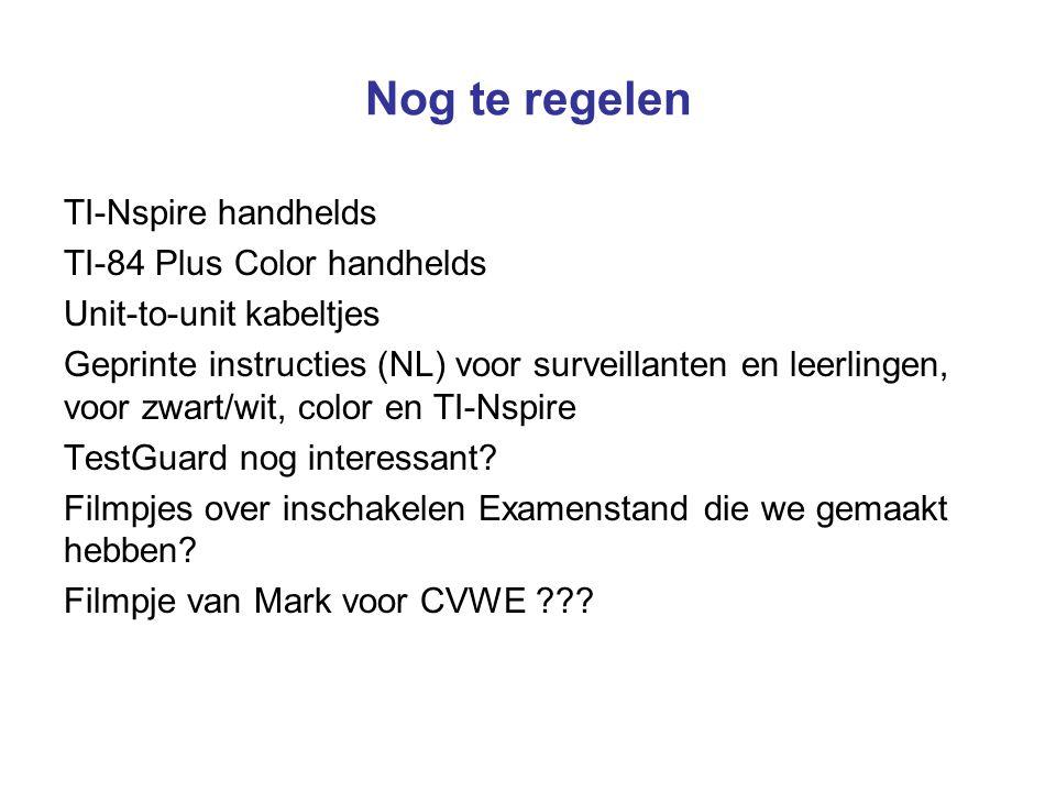 Nog te regelen TI-Nspire handhelds TI-84 Plus Color handhelds Unit-to-unit kabeltjes Geprinte instructies (NL) voor surveillanten en leerlingen, voor