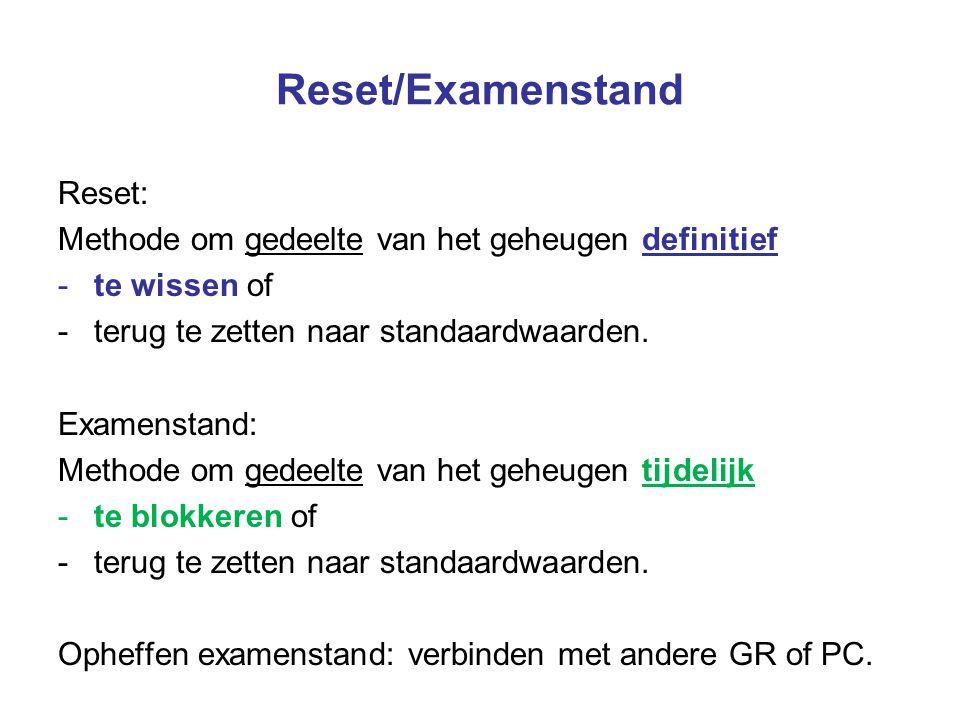 Reset/Examenstand Reset: Methode om gedeelte van het geheugen definitief -te wissen of -terug te zetten naar standaardwaarden. Examenstand: Methode om
