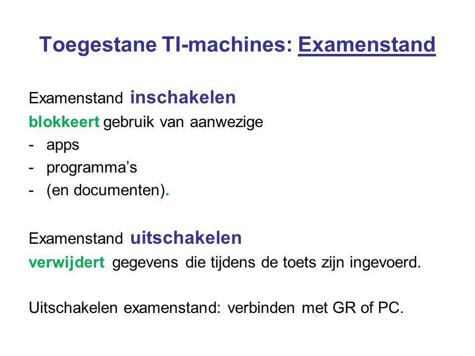 Toegestane TI-machines: Examenstand Examenstand inschakelen blokkeert gebruik van aanwezige -apps -programma's -(en documenten). Examenstand uitschake