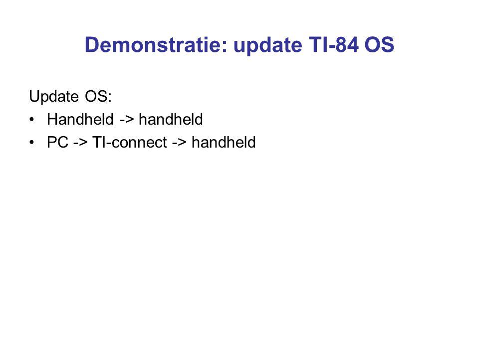 Demonstratie: update TI-84 OS Update OS: Handheld -> handheld PC -> TI-connect -> handheld