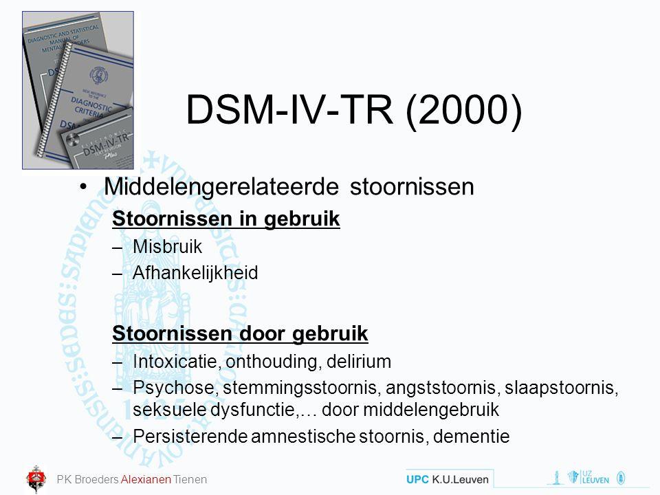 DSM-IV-TR (2000) Middelengerelateerde stoornissen Stoornissen in gebruik –Misbruik –Afhankelijkheid Stoornissen door gebruik –Intoxicatie, onthouding,