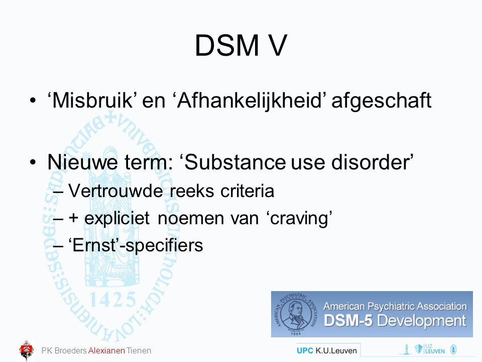 DSM V 'Misbruik' en 'Afhankelijkheid' afgeschaft Nieuwe term: 'Substance use disorder' –Vertrouwde reeks criteria –+ expliciet noemen van 'craving' –'