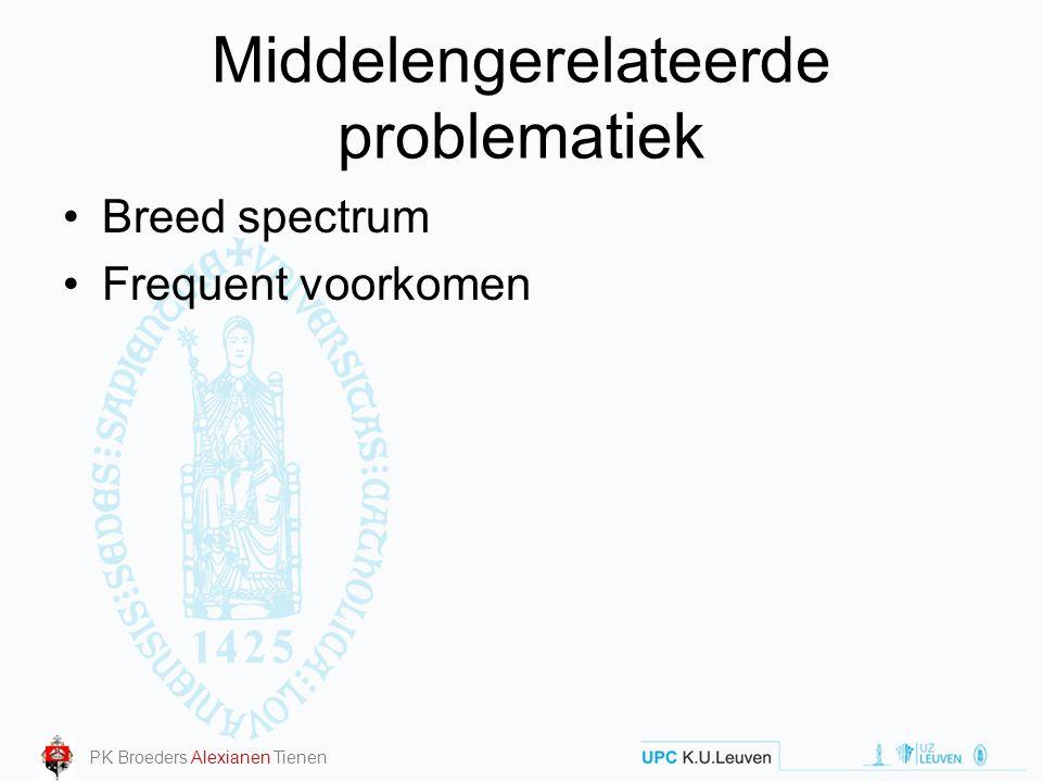 Middelengerelateerde problematiek Breed spectrum Frequent voorkomen PK Broeders Alexianen Tienen
