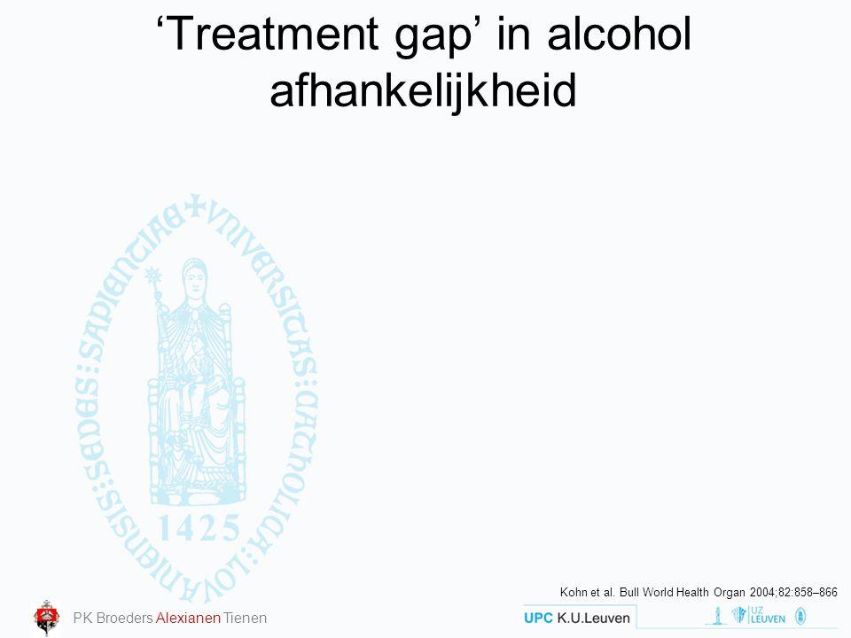 'Treatment gap' in alcohol afhankelijkheid Kohn et al. Bull World Health Organ 2004;82:858–866 PK Broeders Alexianen Tienen