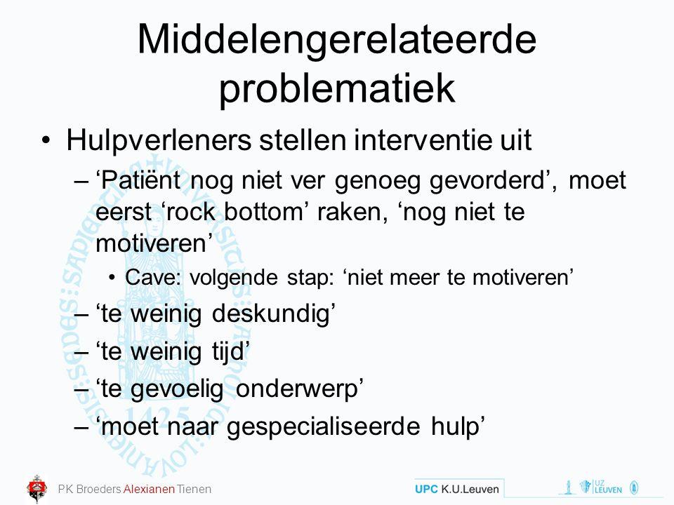 Middelengerelateerde problematiek Hulpverleners stellen interventie uit –'Patiënt nog niet ver genoeg gevorderd', moet eerst 'rock bottom' raken, 'nog