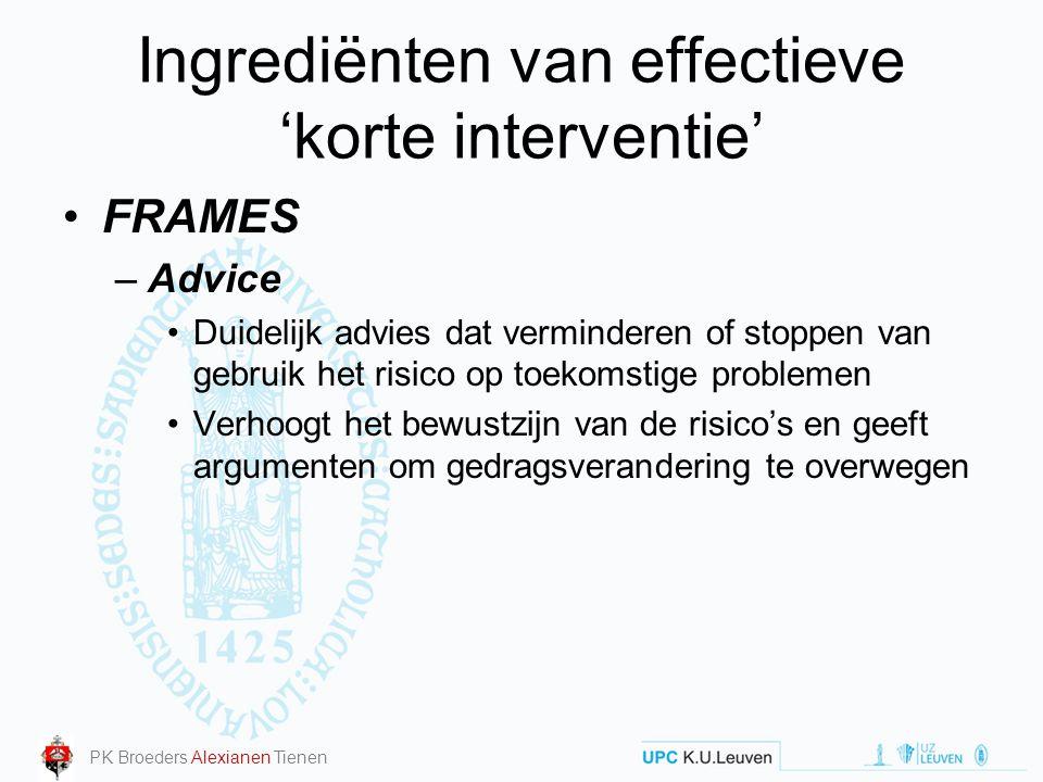 Ingrediënten van effectieve 'korte interventie' FRAMES –Advice Duidelijk advies dat verminderen of stoppen van gebruik het risico op toekomstige probl