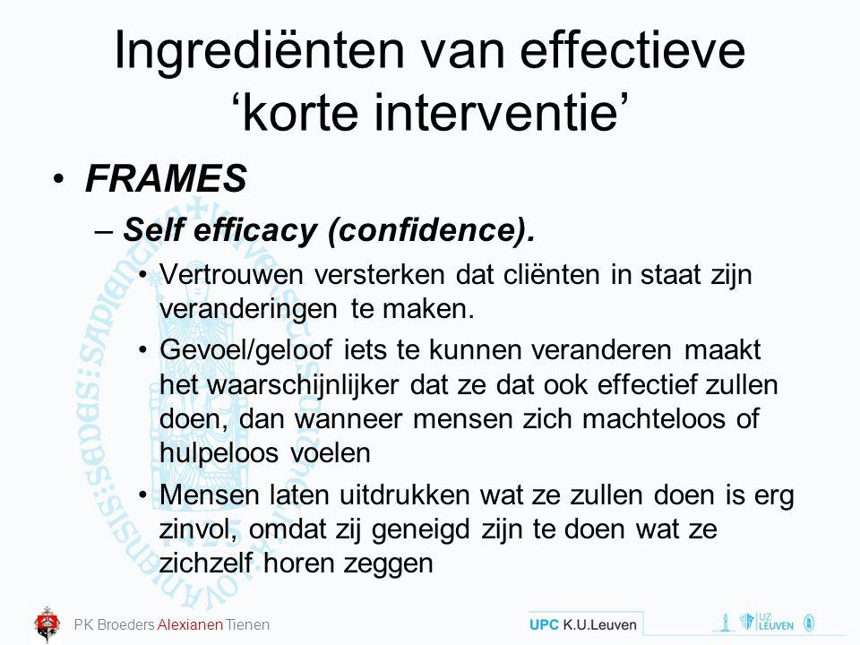 Ingrediënten van effectieve 'korte interventie' FRAMES –Self efficacy (confidence). Vertrouwen versterken dat cliënten in staat zijn veranderingen te