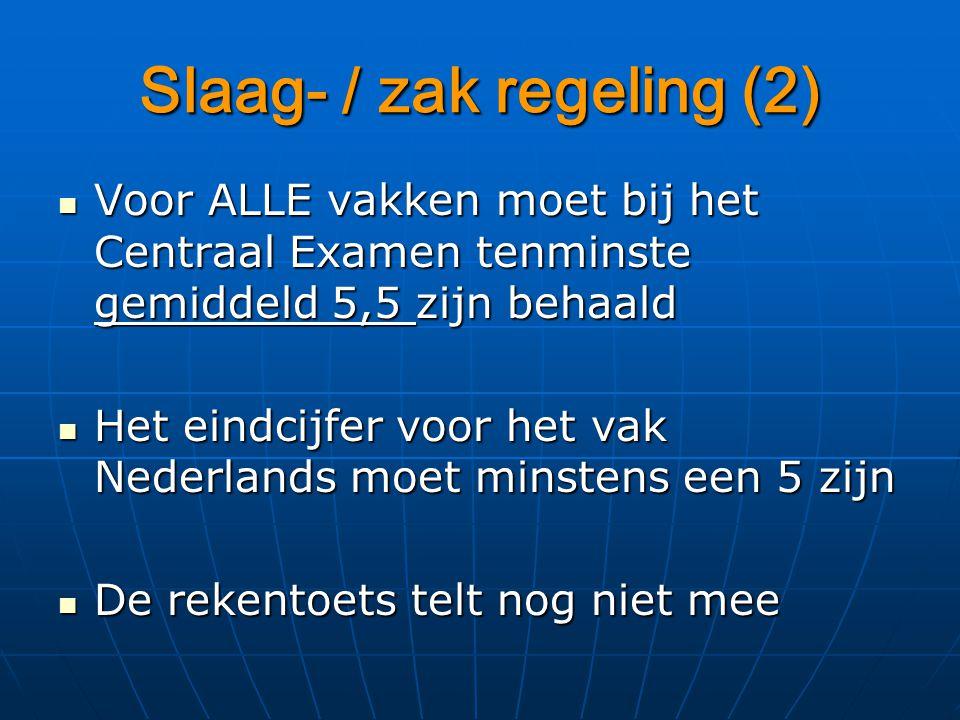 Slaag- / zak regeling (2) Voor ALLE vakken moet bij het Centraal Examen tenminste gemiddeld 5,5 zijn behaald Voor ALLE vakken moet bij het Centraal Examen tenminste gemiddeld 5,5 zijn behaald Het eindcijfer voor het vak Nederlands moet minstens een 5 zijn Het eindcijfer voor het vak Nederlands moet minstens een 5 zijn De rekentoets telt nog niet mee De rekentoets telt nog niet mee
