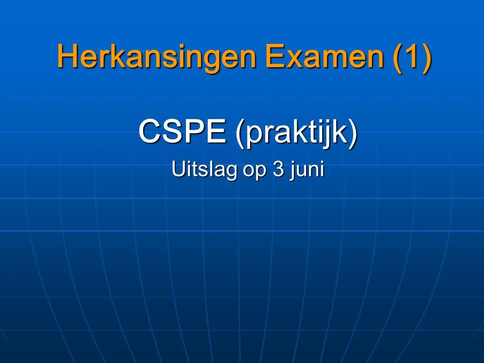 Herkansingen Examen (1) CSPE (praktijk) Uitslag op 3 juni