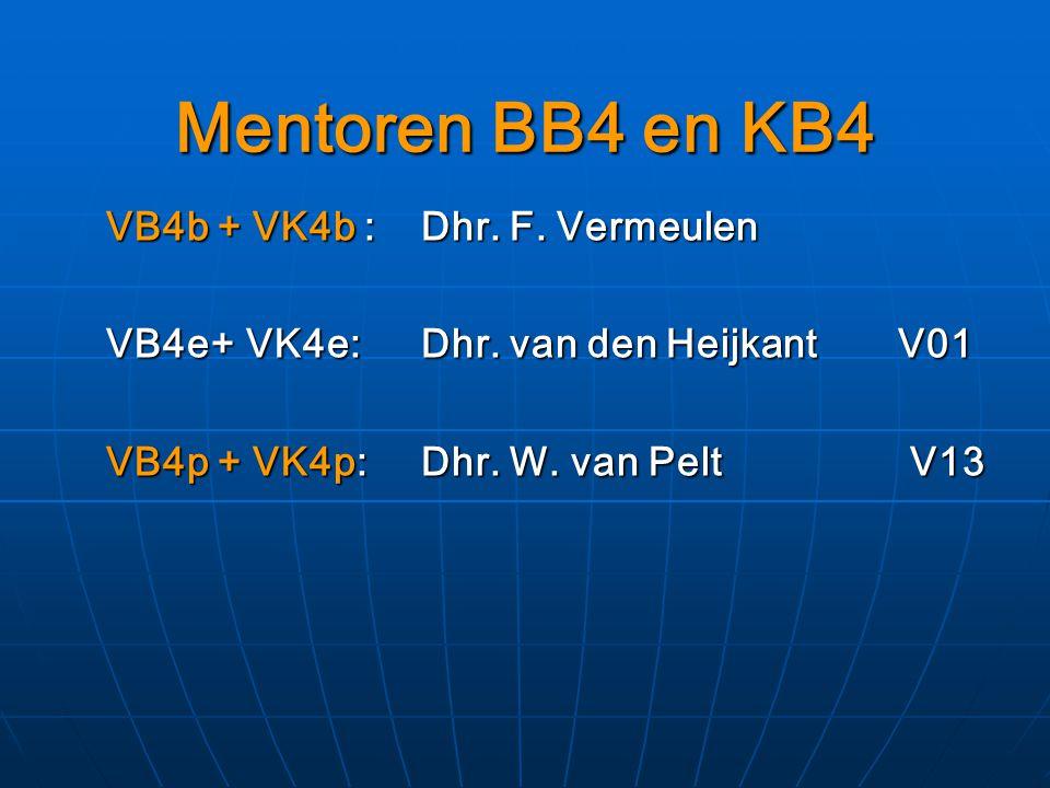 Mentoren BB4 en KB4 VB4b + VK4b : Dhr.F. Vermeulen VB4e+ VK4e: Dhr.