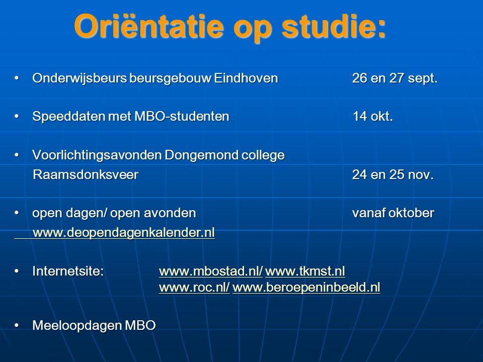 Oriëntatie op studie: Onderwijsbeurs beursgebouw Eindhoven 26 en 27 sept.