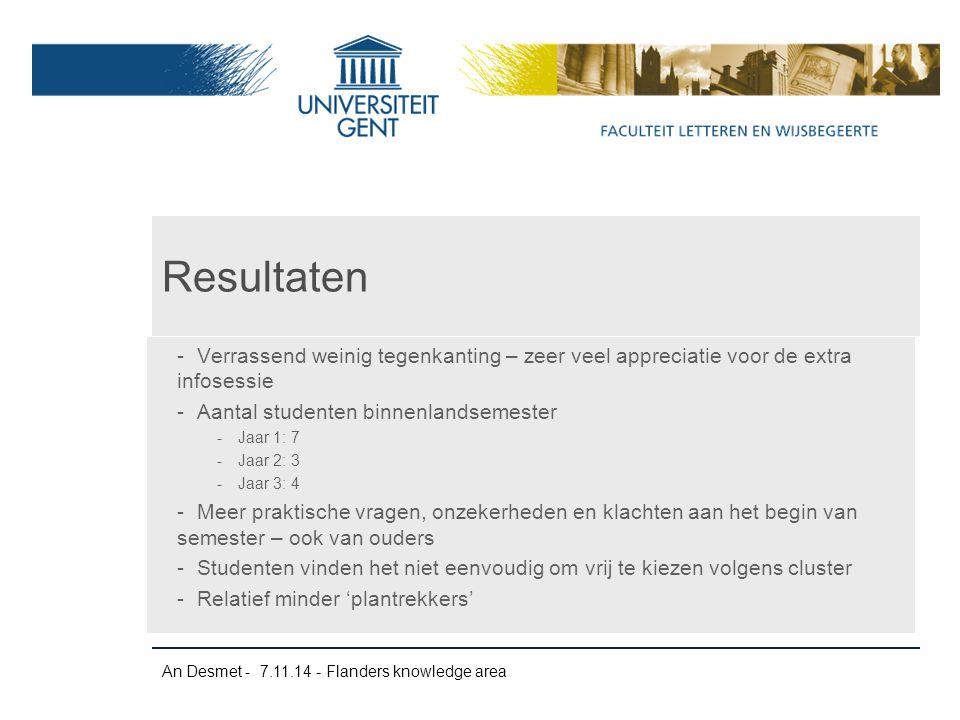 An Desmet - 7.11.14 - Flanders knowledge area -Verrassend weinig tegenkanting – zeer veel appreciatie voor de extra infosessie -Aantal studenten binne