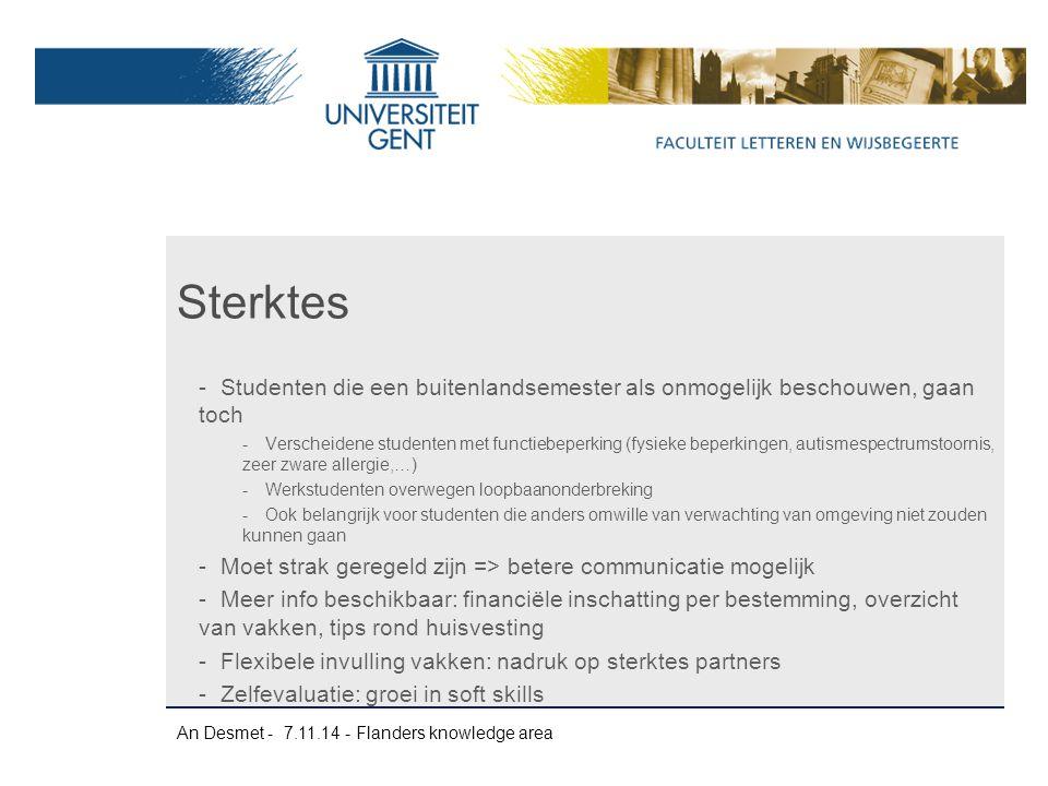 An Desmet - 7.11.14 - Flanders knowledge area -Studenten die een buitenlandsemester als onmogelijk beschouwen, gaan toch -Verscheidene studenten met f