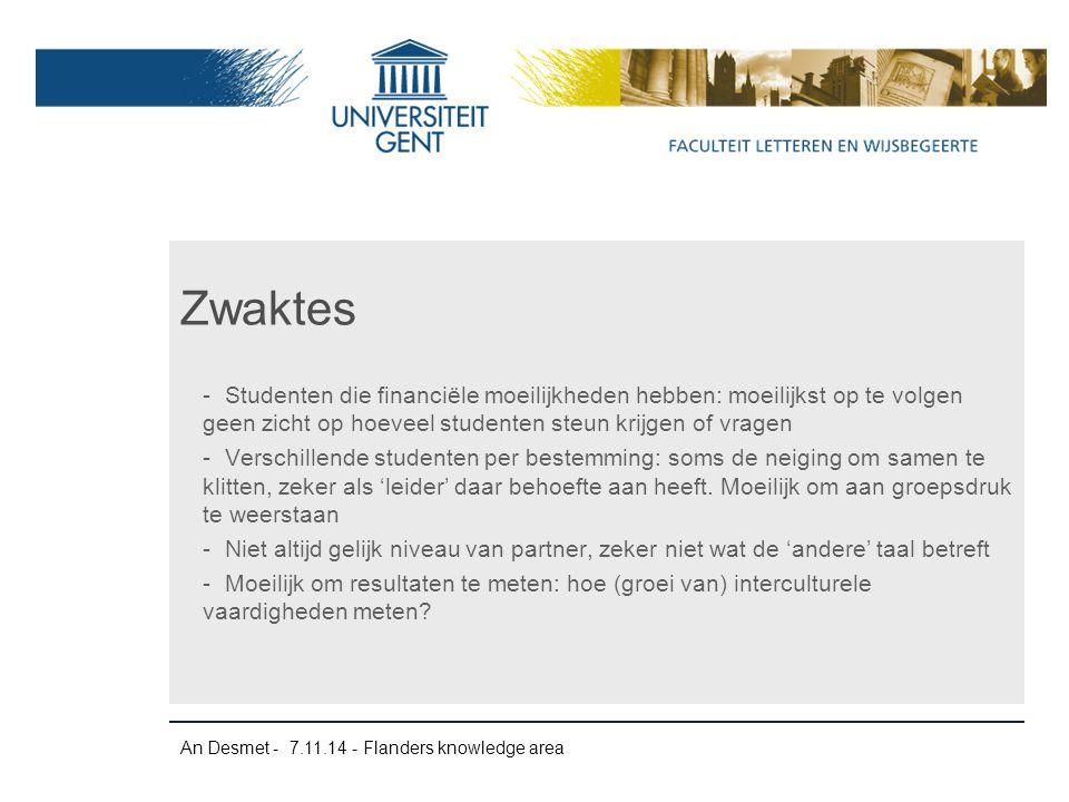 An Desmet - 7.11.14 - Flanders knowledge area -Studenten die financiële moeilijkheden hebben: moeilijkst op te volgen geen zicht op hoeveel studenten