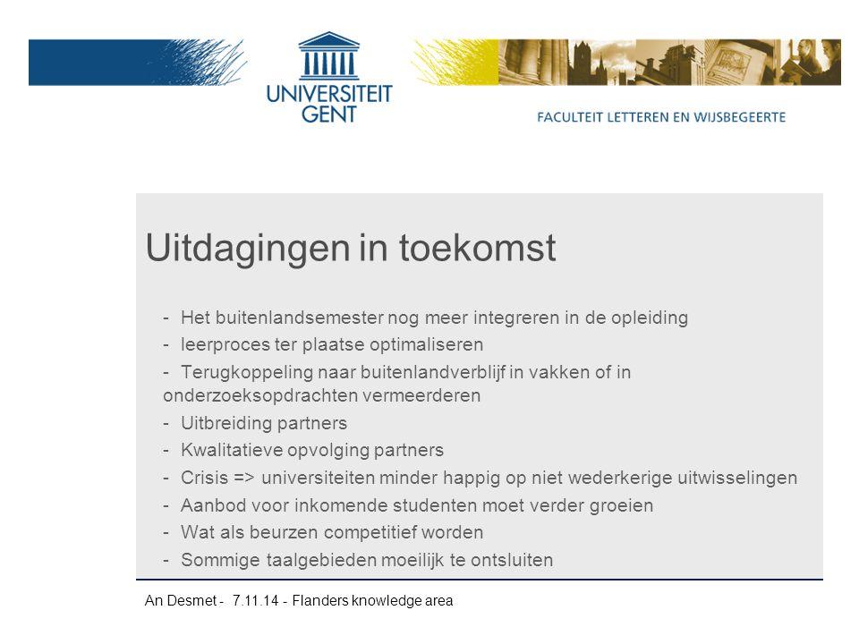 An Desmet - 7.11.14 - Flanders knowledge area -Het buitenlandsemester nog meer integreren in de opleiding -leerproces ter plaatse optimaliseren -Terug