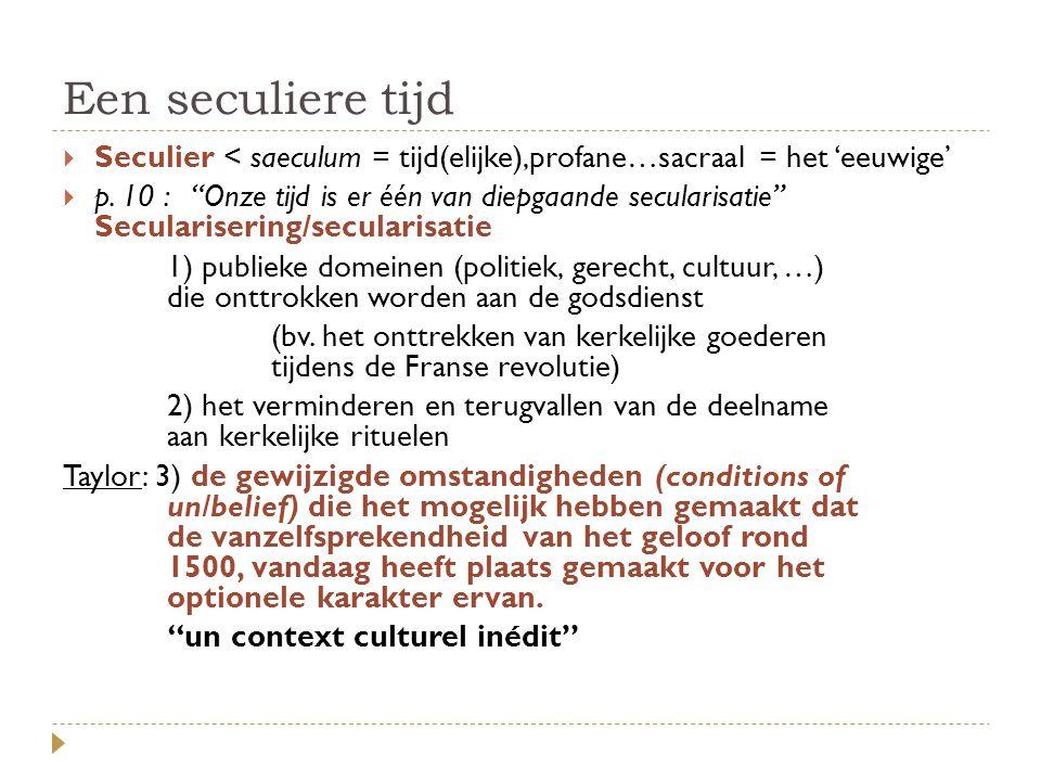 """Een seculiere tijd  Seculier < saeculum = tijd(elijke),profane…sacraal = het 'eeuwige'  p. 10 : """"Onze tijd is er één van diepgaande secularisatie"""" S"""